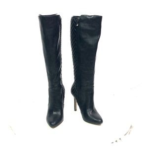 Black BCBG Tall Beasley Quilted Heeled Boots 7M